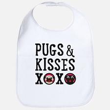 Pugs & Kisses Black Text Stacked Bib