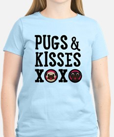 Pugs & Kisses Black Text Stacked T-Shirt