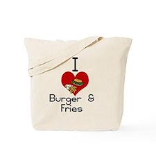I love-heart burger & fries Tote Bag