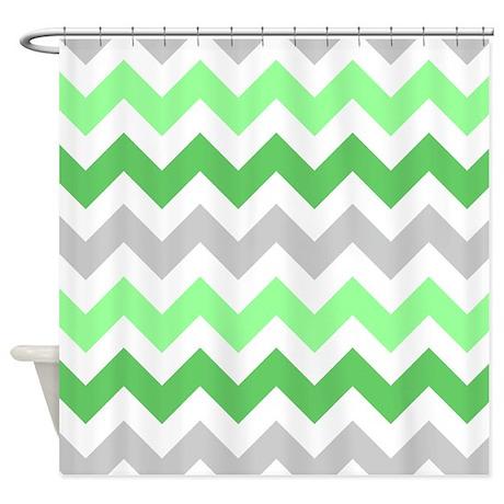 Lime Green Grey White Chevron Strip Shower Curtain By