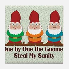One By One The Gnomes Funny Design Tile Coaster