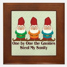 One By One The Gnomes Funny Design Framed Tile