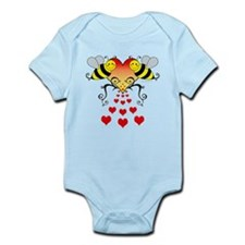 Bumble Bees Hearts Design Body Suit