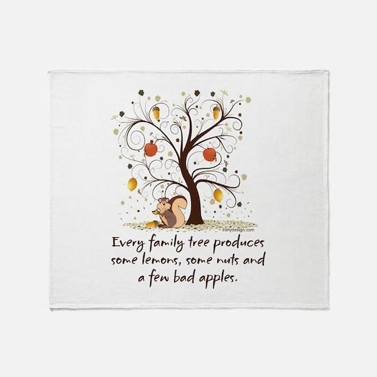 Funny Family Tree Saying Design Throw Blanket