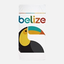 Belize Vintage Travel Poster with Toucan Beach Tow