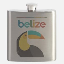 Belize Vintage Travel Poster with Toucan Flask
