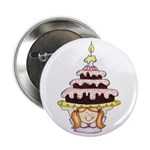 Girl with Birthday Cake Button