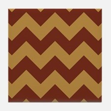 chevron brick red and gold pattern wide Tile Coast