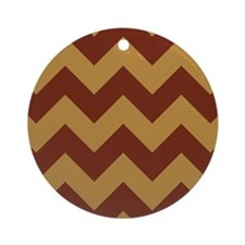 chevron pattern brick red and gold Ornament (Round