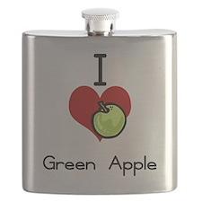 I love-heart green apple Flask