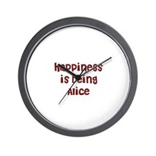 happiness is being Alice Wall Clock