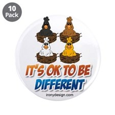 """Different Colored Chicken Ca 3.5"""" Button (10 pack)"""