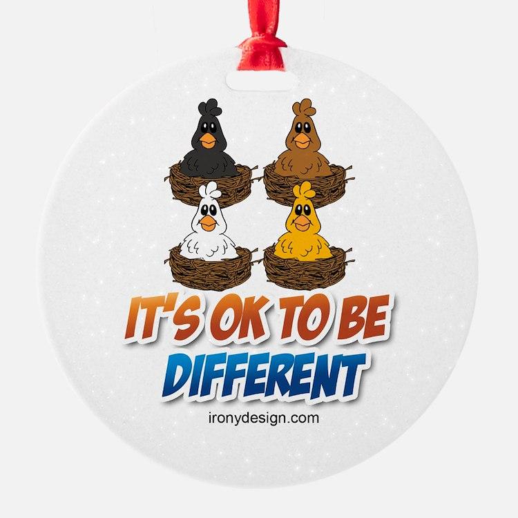 Different Colored Chicken Cartoon Ornament