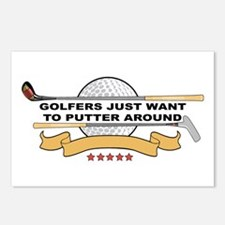 Golfers Putter Around Postcards (Package of 8)