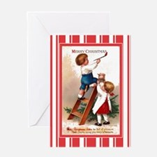 Children Painting Antique Greeting Card