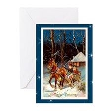 Children in Sled with Ho Greeting Cards (Pk of 10)
