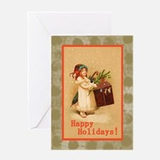 Girl with Christmas Box Greeting Card