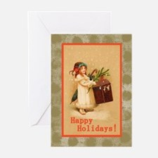 Girl with Christmas Box Greeting Cards (Pk of 20)