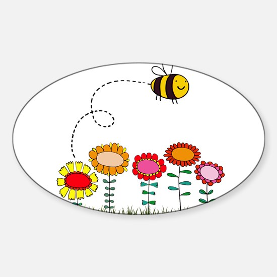 Bee Buzzing Flower Garden Shower Curtain White.pn