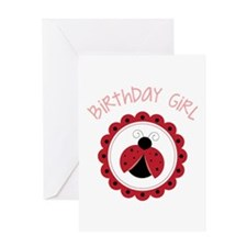 Ladybug Birthday Girl Greeting Cards