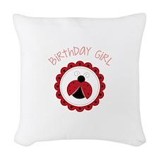 Ladybug Birthday Girl Woven Throw Pillow