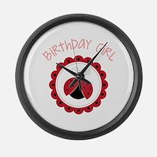 Ladybug Birthday Girl Large Wall Clock