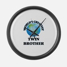 World's Greatest Twin Brother Large Wall Clock