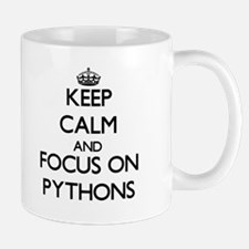 Keep Calm and focus on Pythons Mugs