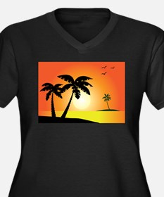 Tropical Sunset Plus Size T-Shirt
