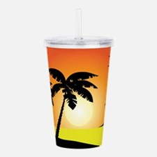 Tropical Sunset Acrylic Double-wall Tumbler
