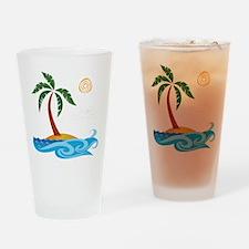 Palm Tree Cartoon Drinking Glass