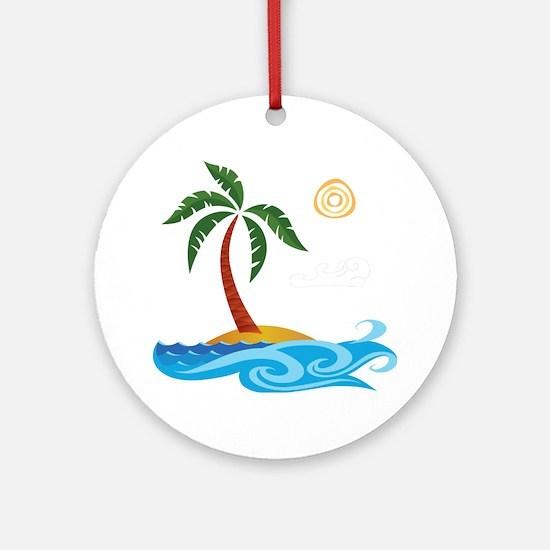 Palm Tree Cartoon Ornament (Round)