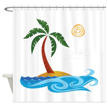 Palm Tree Cartoon Shower Curtain By UnderTheSea2