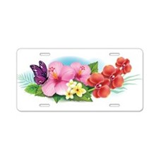 Tropical Banner Aluminum License Plate