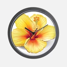 Yellow Hibiscus Wall Clock