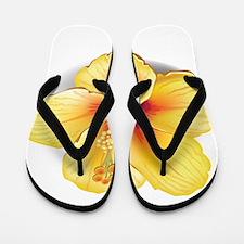 Yellow Hibiscus Flip Flops