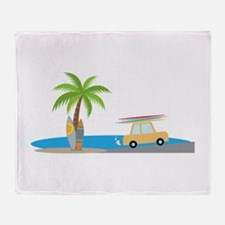 Surfer Beach Throw Blanket