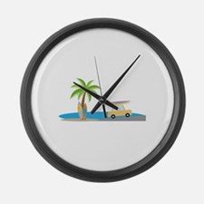 Surfer Beach Large Wall Clock