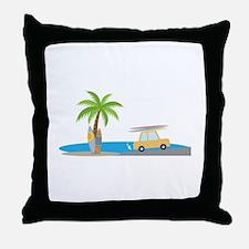 Surfer Beach Throw Pillow