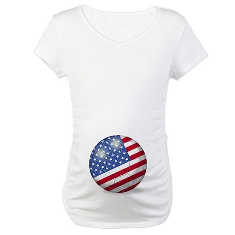 American Flag Soccer Ball (PP) Maternity T-Shirt