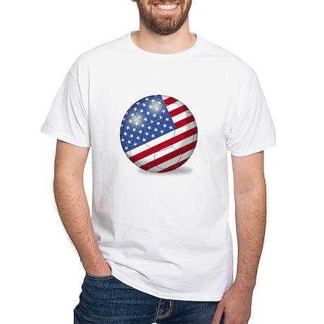 American Flag Soccer Ball (PP) White T-Shirt