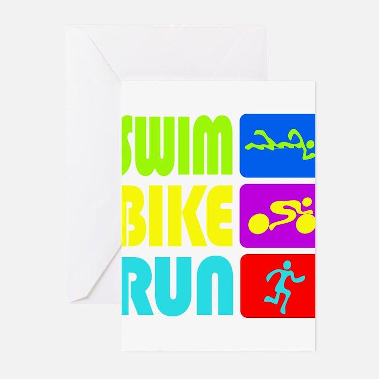 TRI Swim Bike Run Figures Greeting Cards