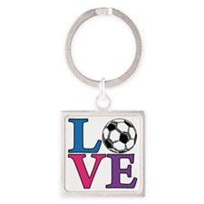 Soccer, LOVE Square Keychain