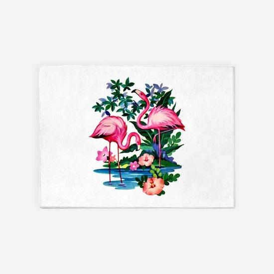 Wild Flamingos- 5'x7'Area Rug