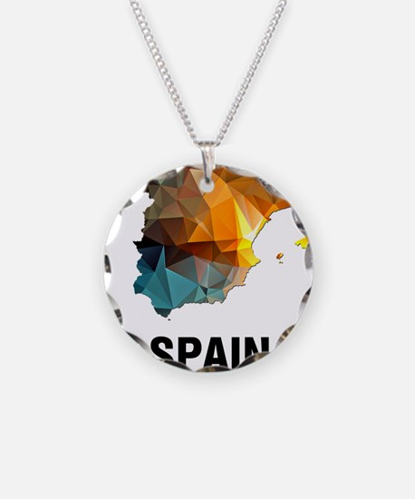 Polygon Mosaic Map of Spain Necklace Circle Charm