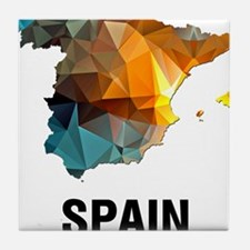 Polygon Mosaic Map of Spain Tile Coaster