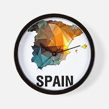 Polygon Mosaic Map of Spain Wall Clock