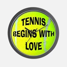 Tennis Begins With Love Wall Clock
