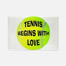 Tennis Begins With Love Rectangle Magnet