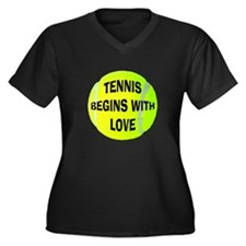 Tennis Begins With Love Women's Plus Size V-Neck D